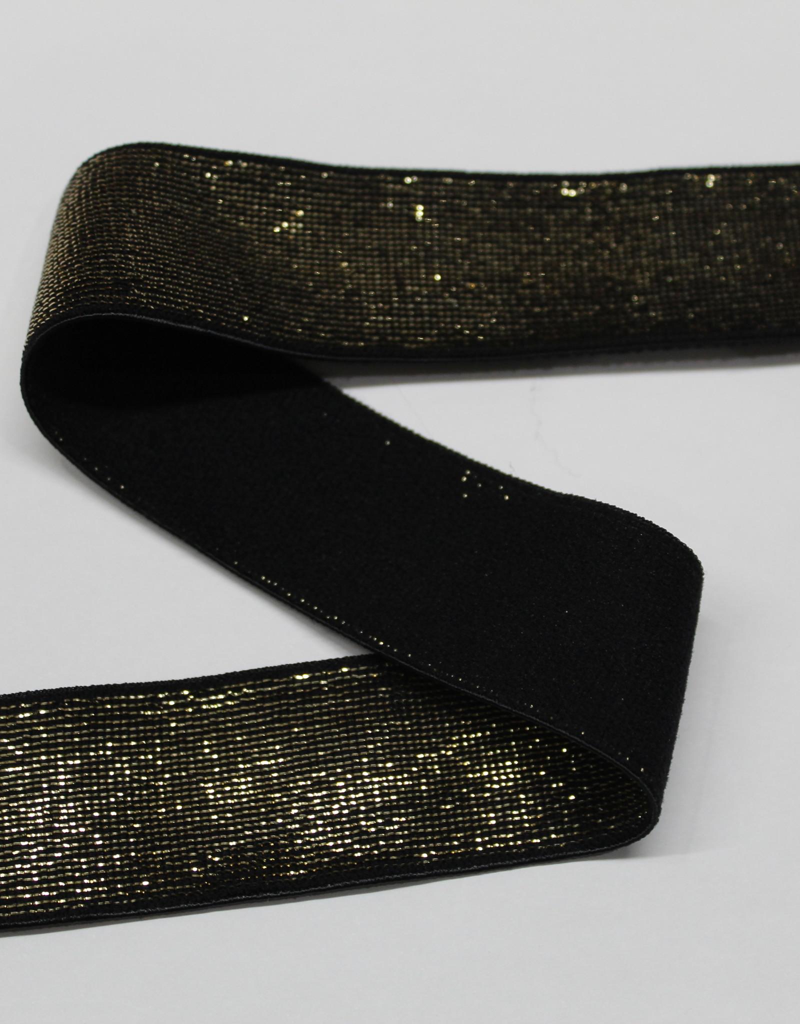 Elastiek zwart gouden glitter 25mm
