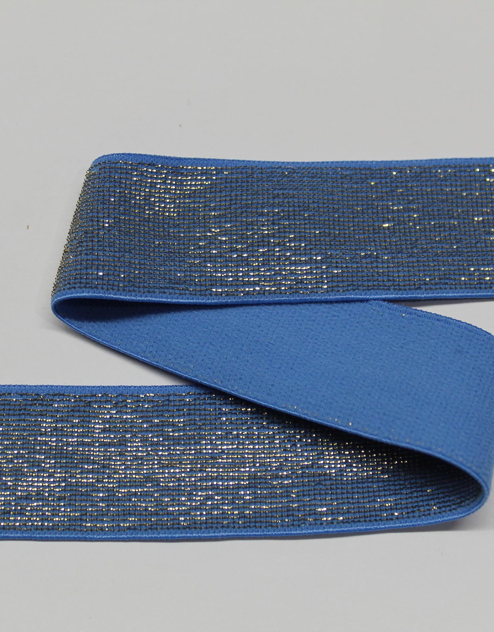 Elastiek lichtblauw gouden glitter 25mm