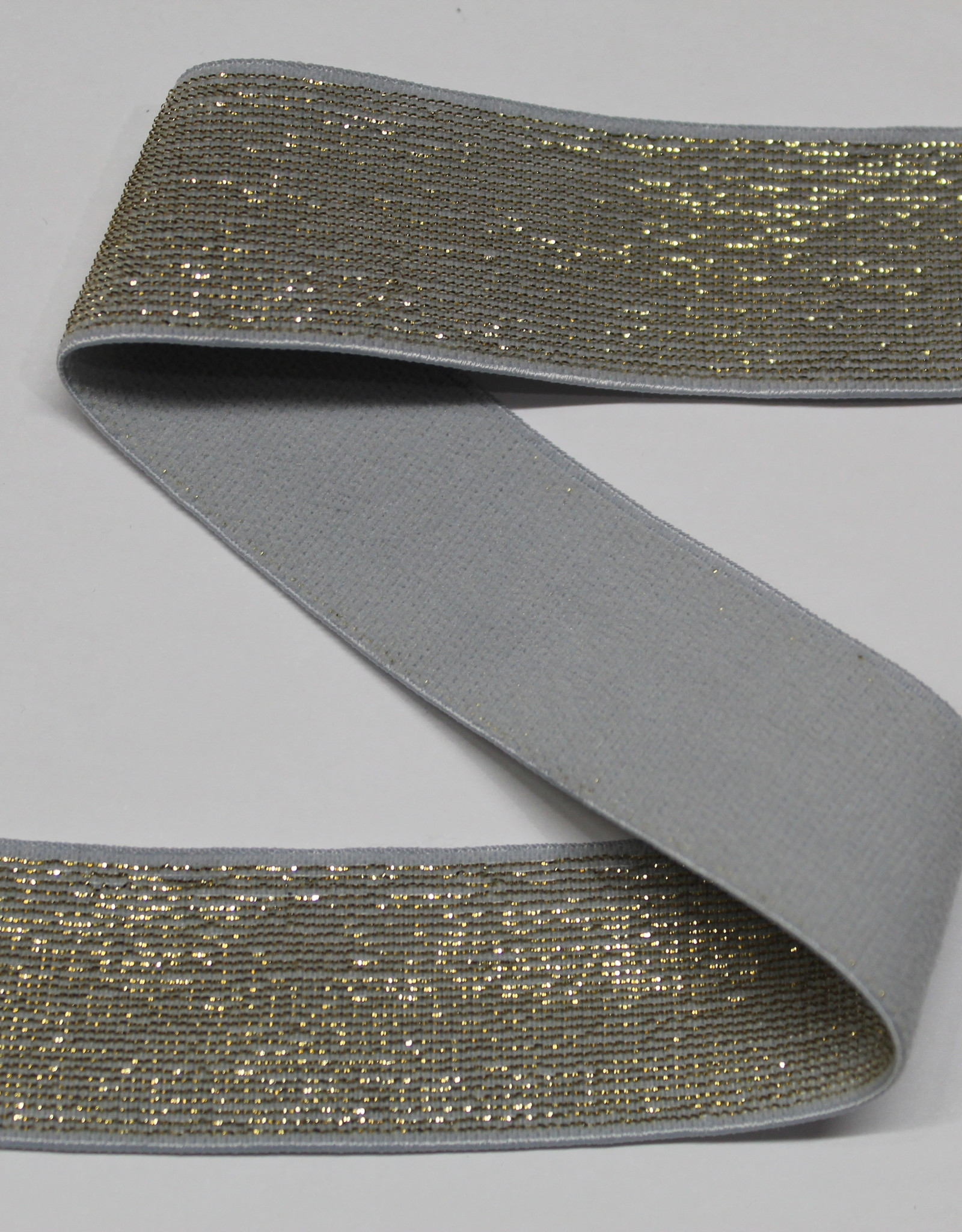 Elastiek grijs gouden glitter 25mm