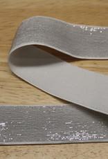 Elastiek wit zilveren glitter 25mm