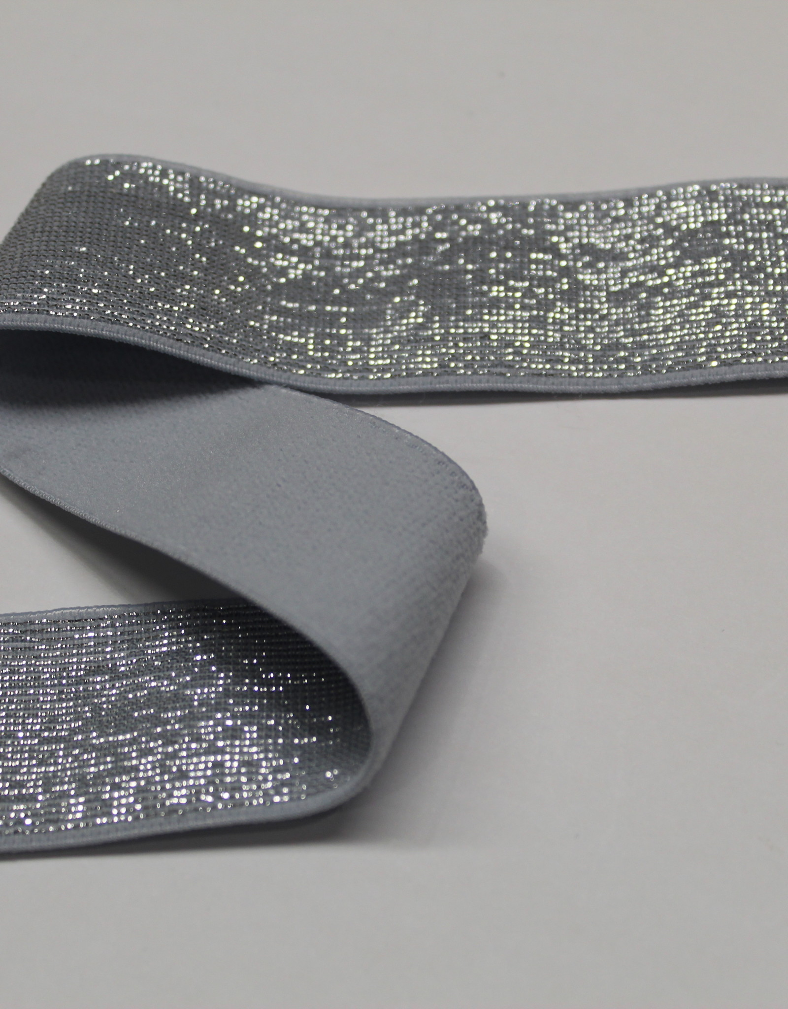 Elastiek grijs zilveren glitter 25mm