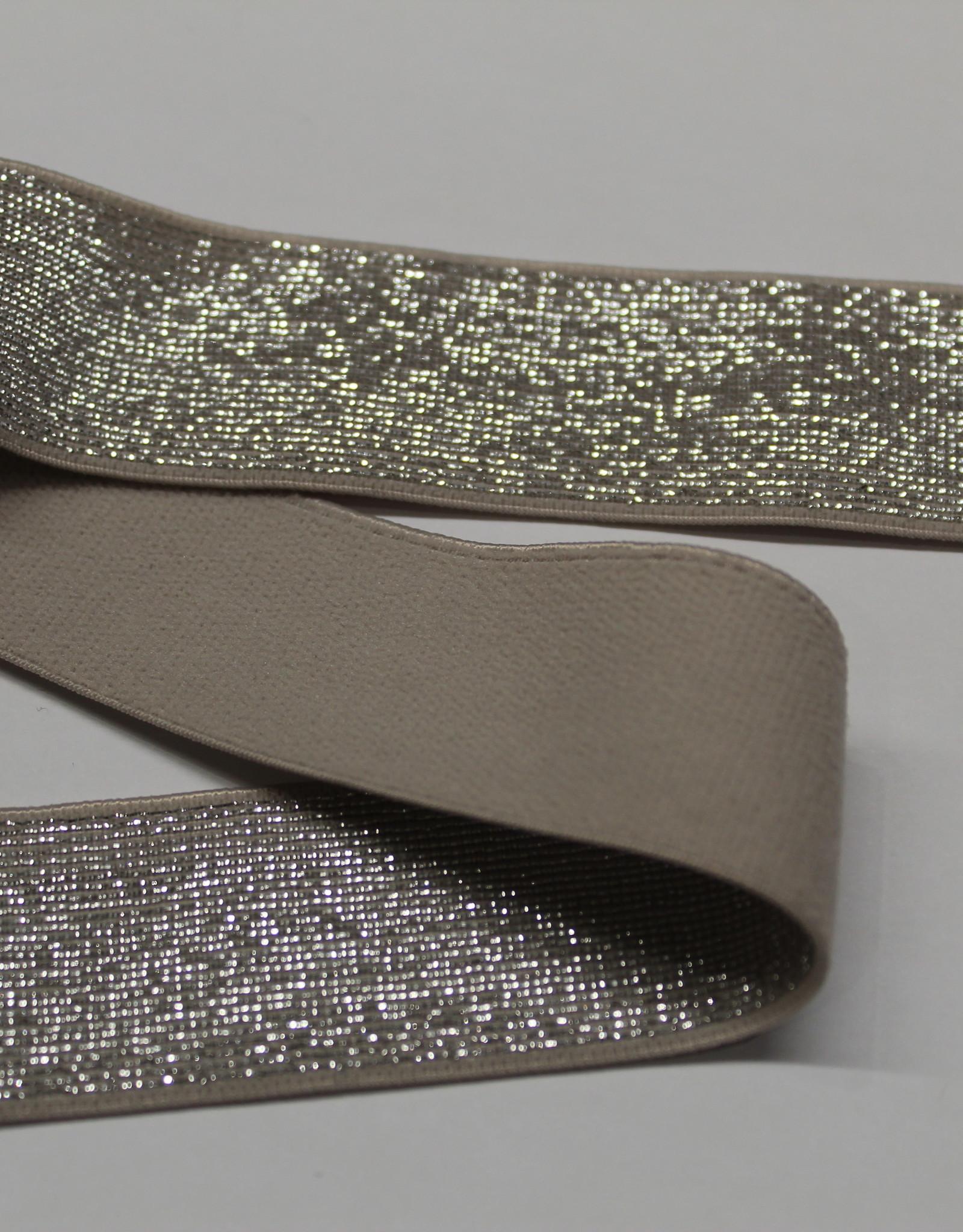 Elastiek taupe zilveren glitter 25mm