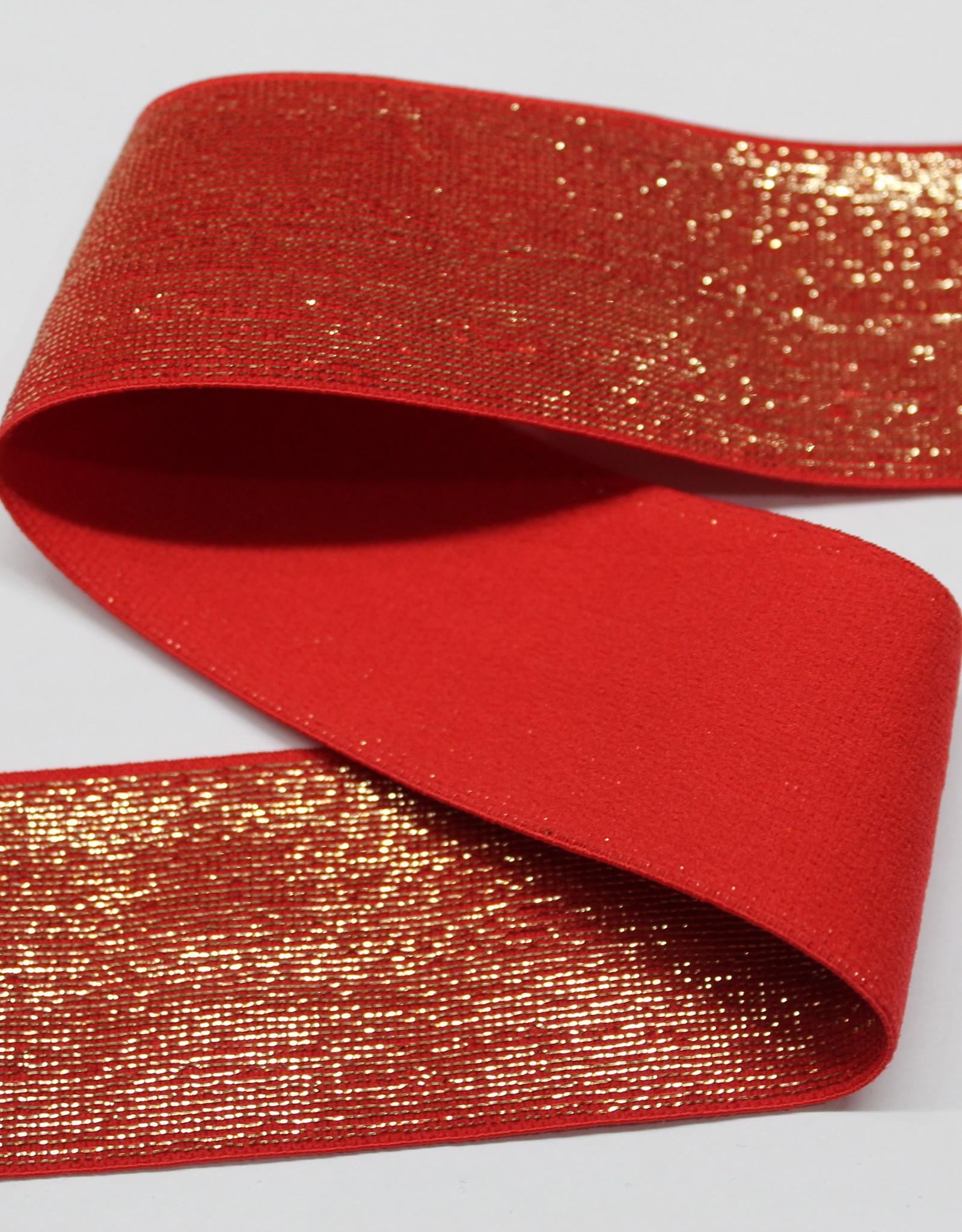 Elastiek rood gouden glitter 40mm