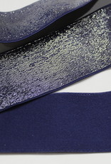 Elastiek indigo blauw zilveren glitter 40mm
