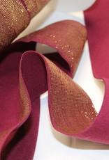 Elastiek aubergine gouden glitter 40mm