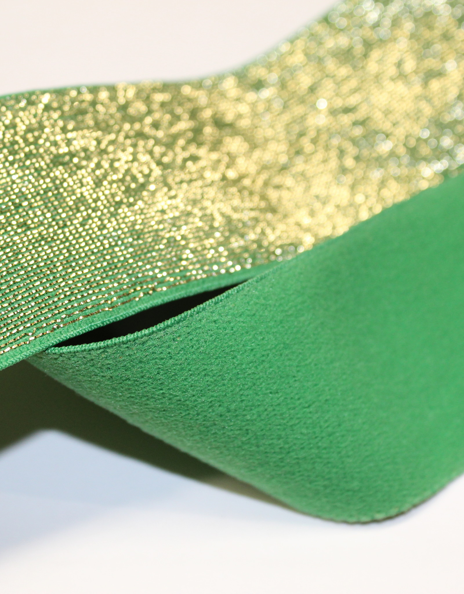 Elastiek groen gouden glitter 40mm