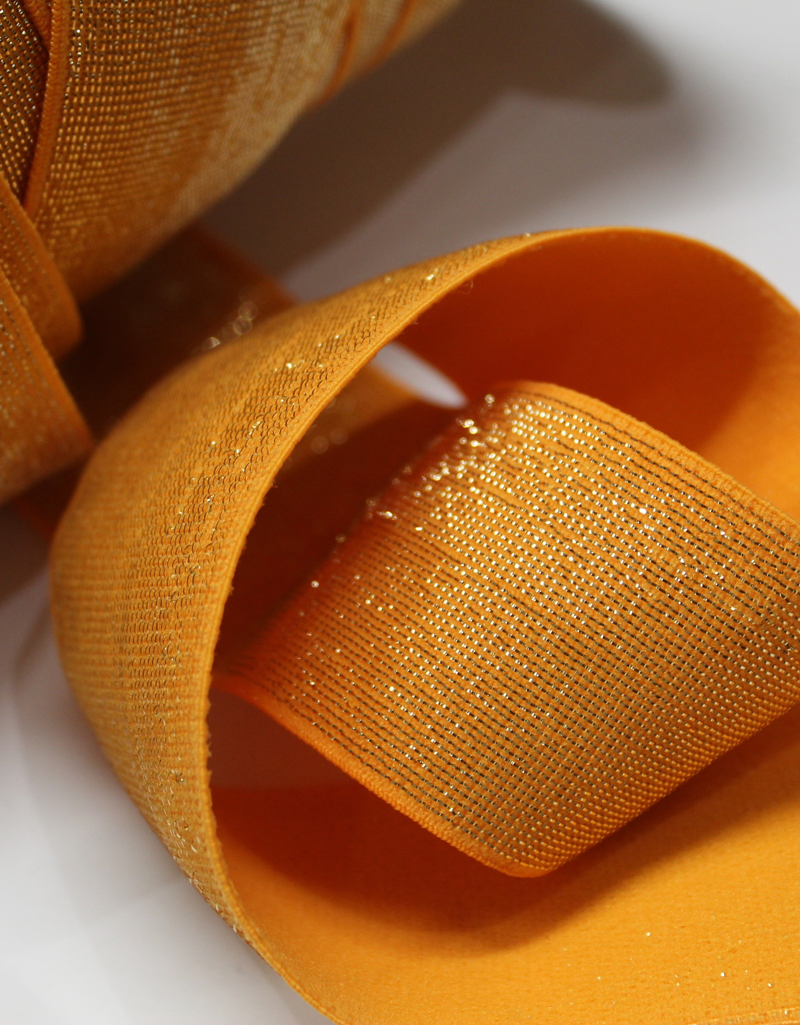 Elastiek oranje gouden glitter 40mm