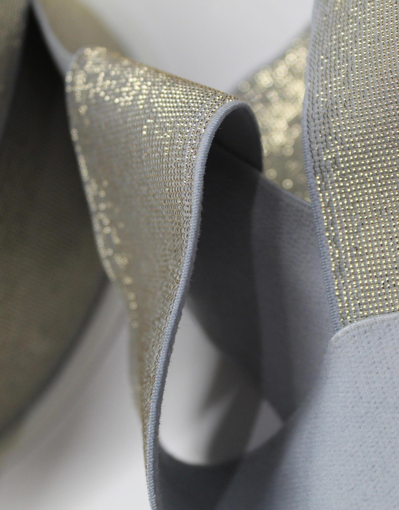Elastiek grijs gouden glitter 40mm