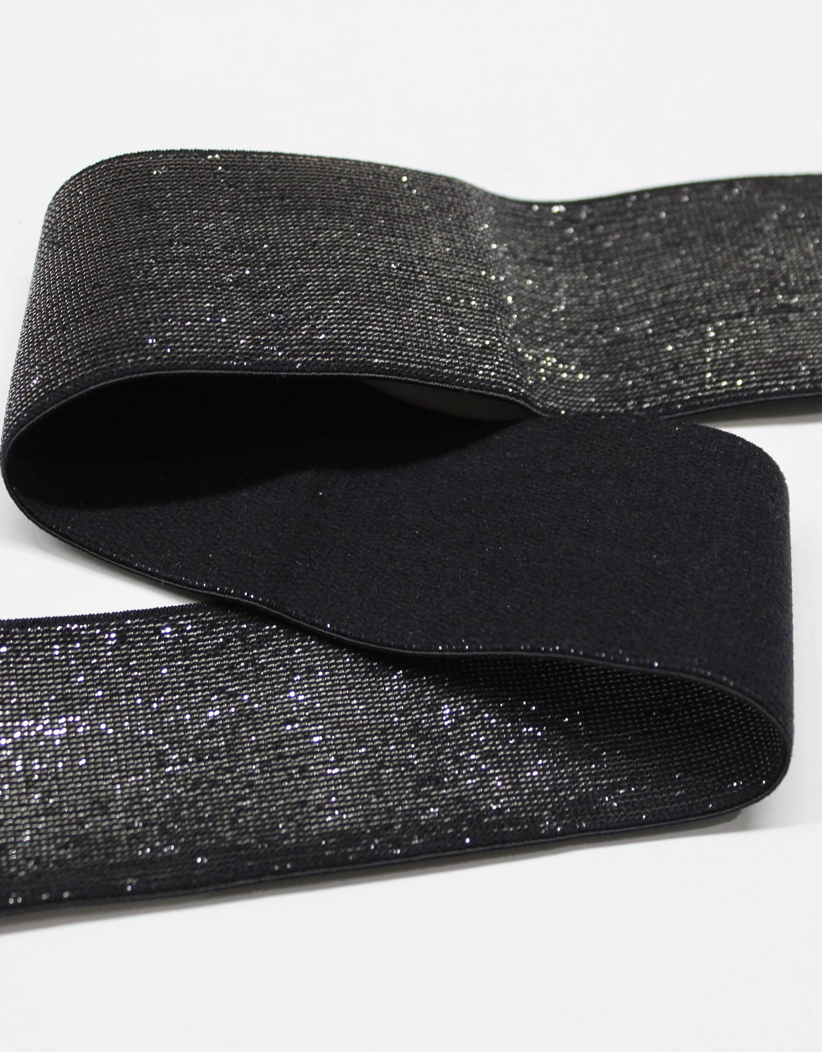 Elastiek zwart zilveren glitter 40mm
