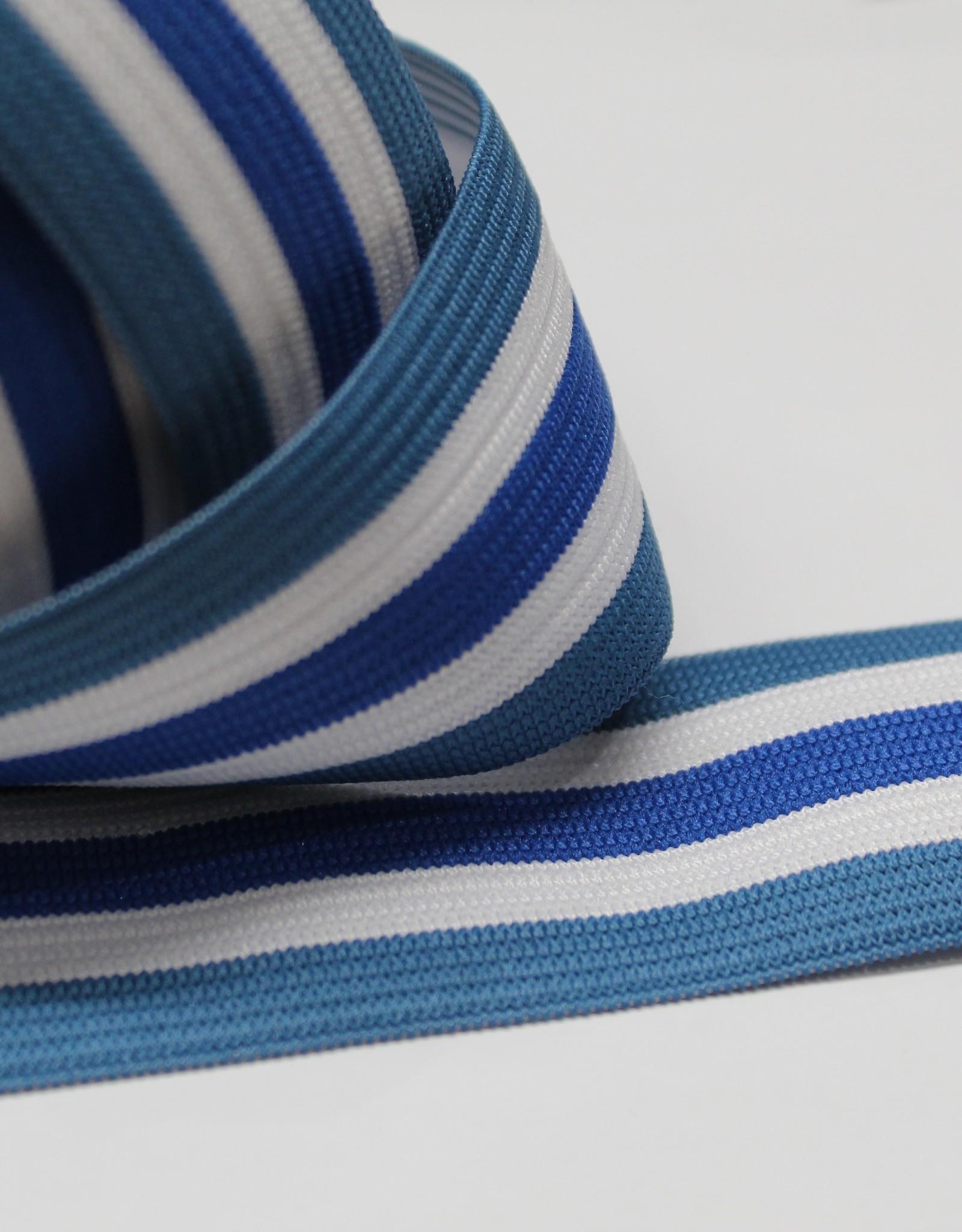 Elastiek gestreept blauw-wit-kobalt-wit-blauw 35mm