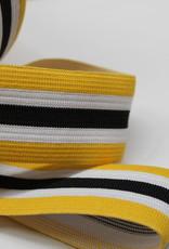 Elastiek gestreept geel-wit-zwart-wit-geel 35mm