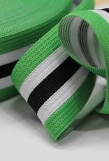 Elastiek gestreept groen-wit-zwart-wit-groen 35mm