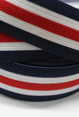 Elastiek gestreept blauw-wit-rood-wit-blauw 35mm