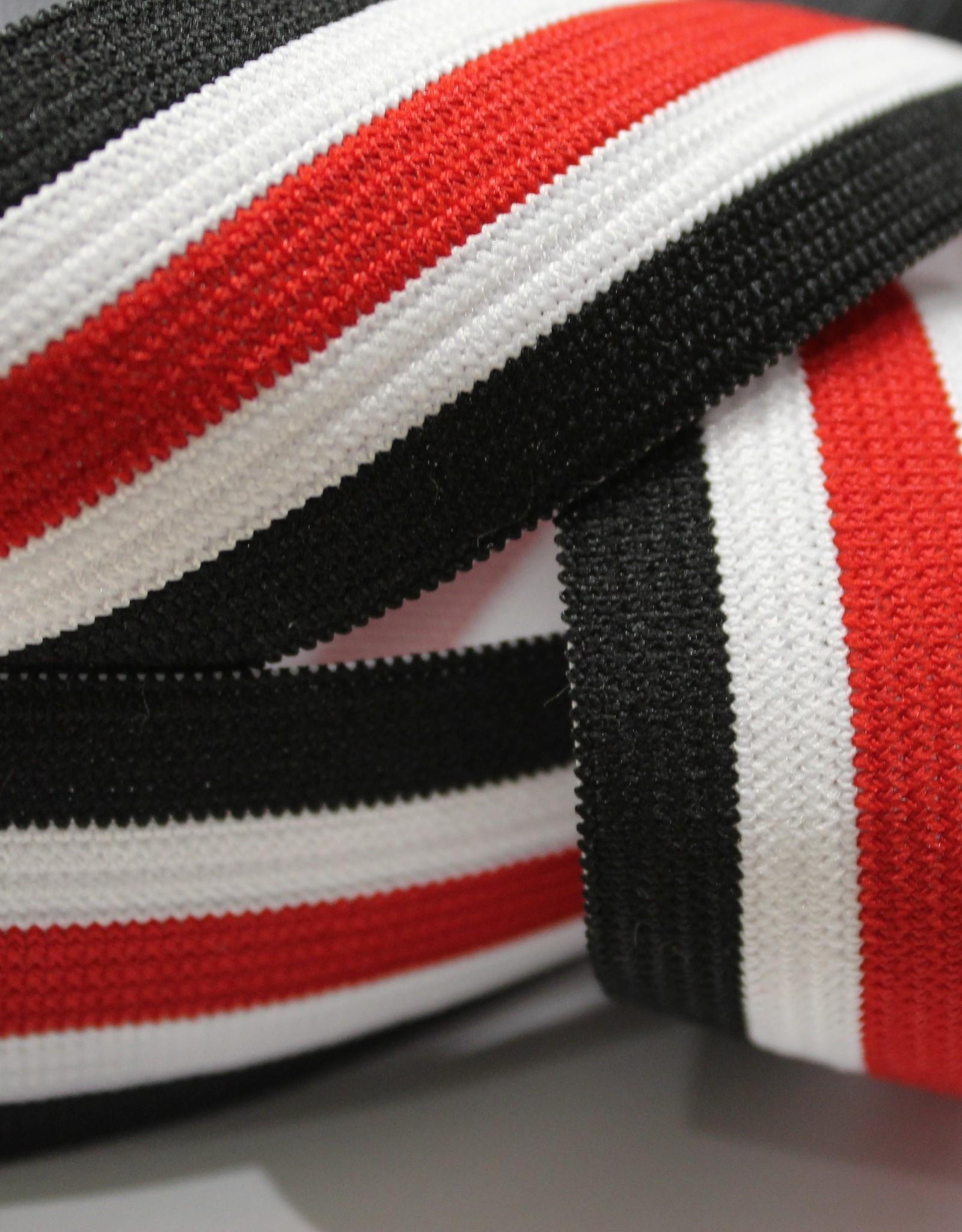 Elastiek gestreept zwart-wit-rood-wit-zwart 35mm