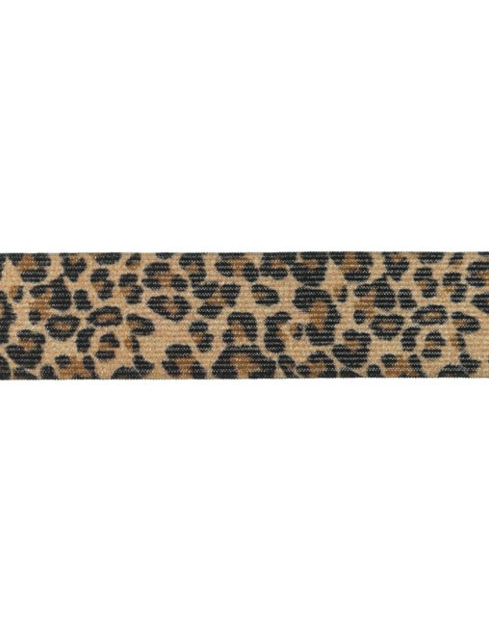 Elastiek dierenprint jacquard bruin met glitter 35mm