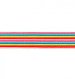 Elastiek met multi streep smal regenboog 40mm