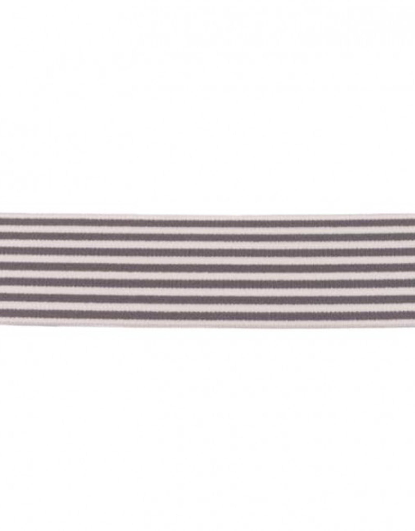 Elastiek met streep smal grijs-wit 40mm