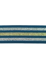 Elastiek blauw gelijnd lurex zilver-goud-zilver 40mm