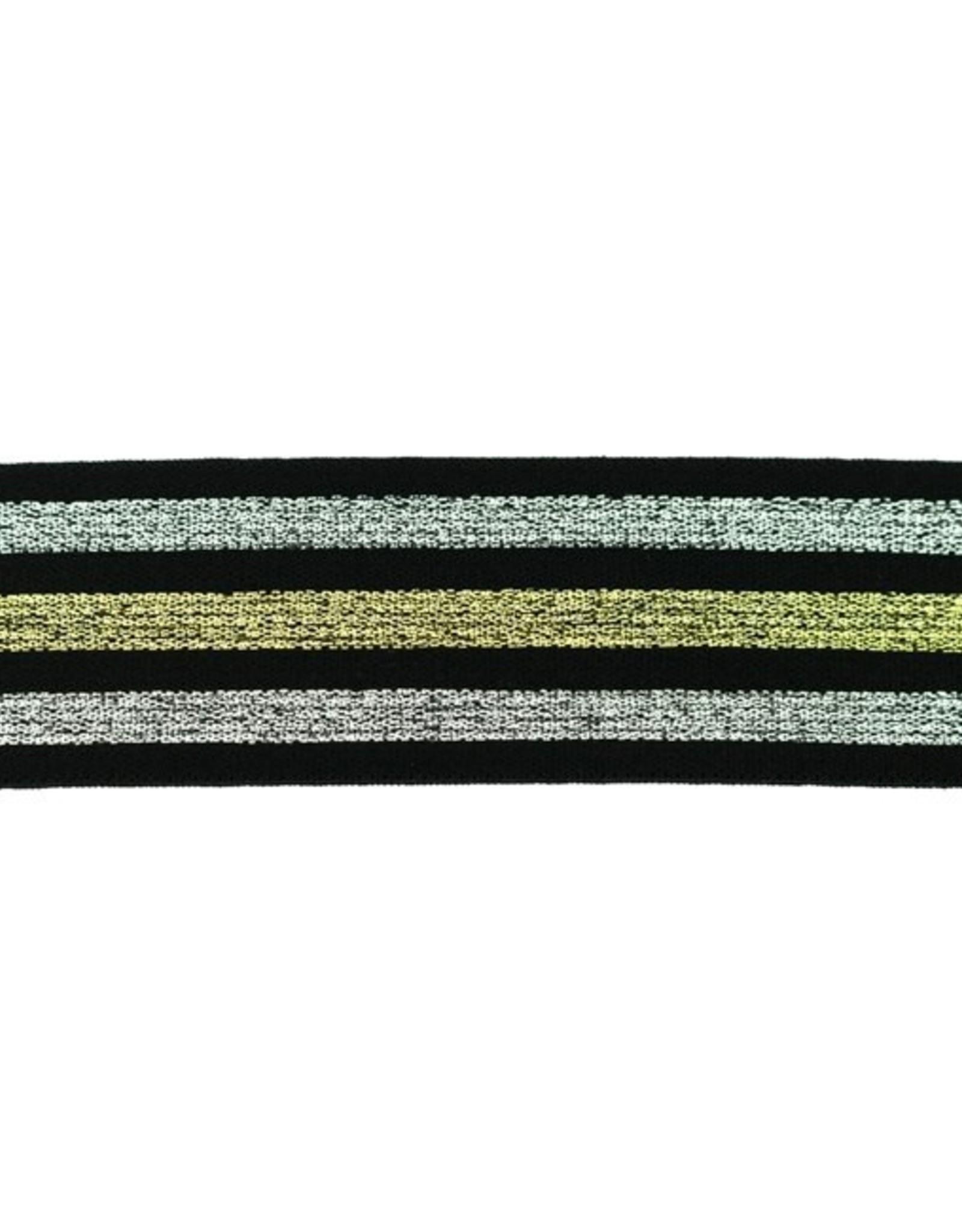 Elastiek zwart gelijnd lurex zilver-goud-zilver 40mm