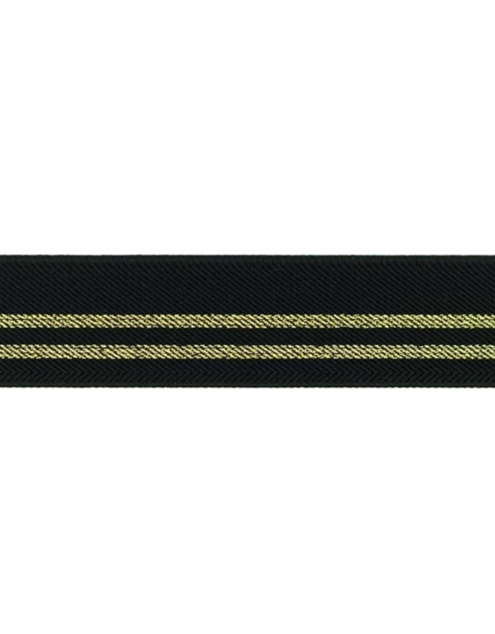 Elastiek zwart met 2 gouden lijnen 25mm