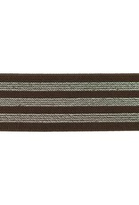 Elastiek chocolade bruin met 3 zilveren lijnen 40mm