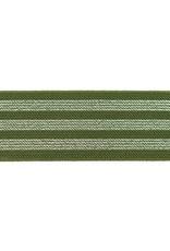 Elastiek kaki army green met 3 zilveren lijnen 40mm