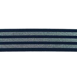 Elastiek marine blauw met 3 zilveren lijnen 40mm