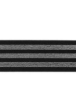 Elastiek zwart met 3 zilveren lijnen 40mm