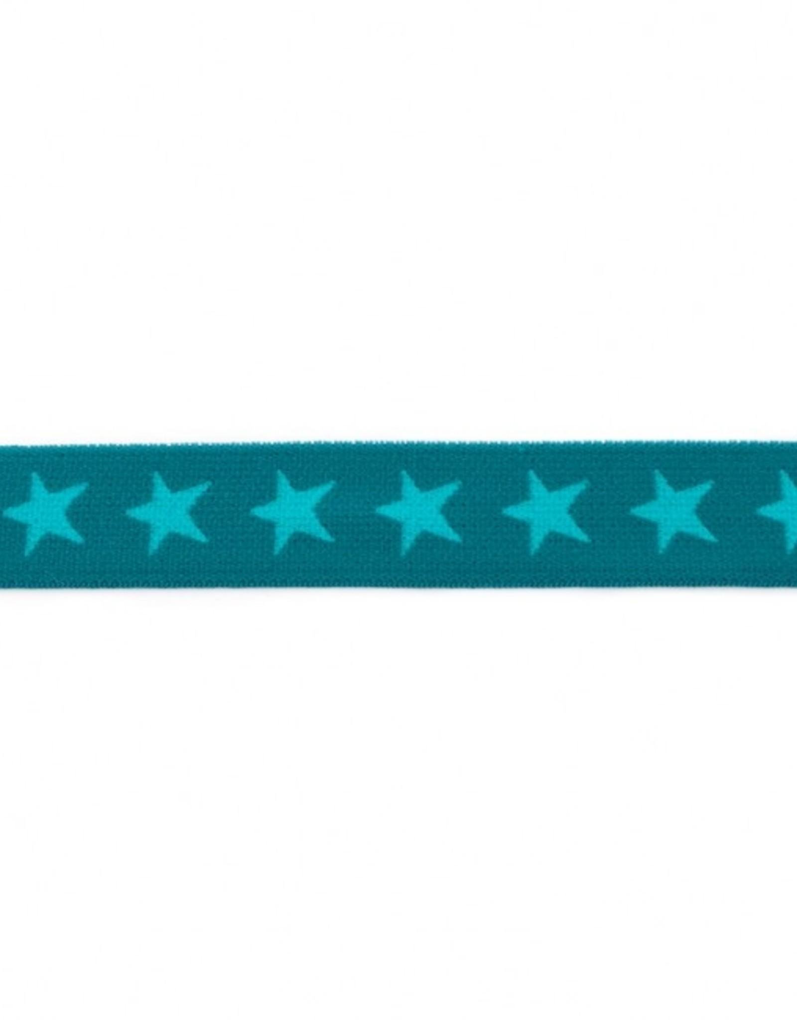 Elastiek sterren 2-kleurig dubbelzijdig petrol-appelblauwzeegroen 20mm