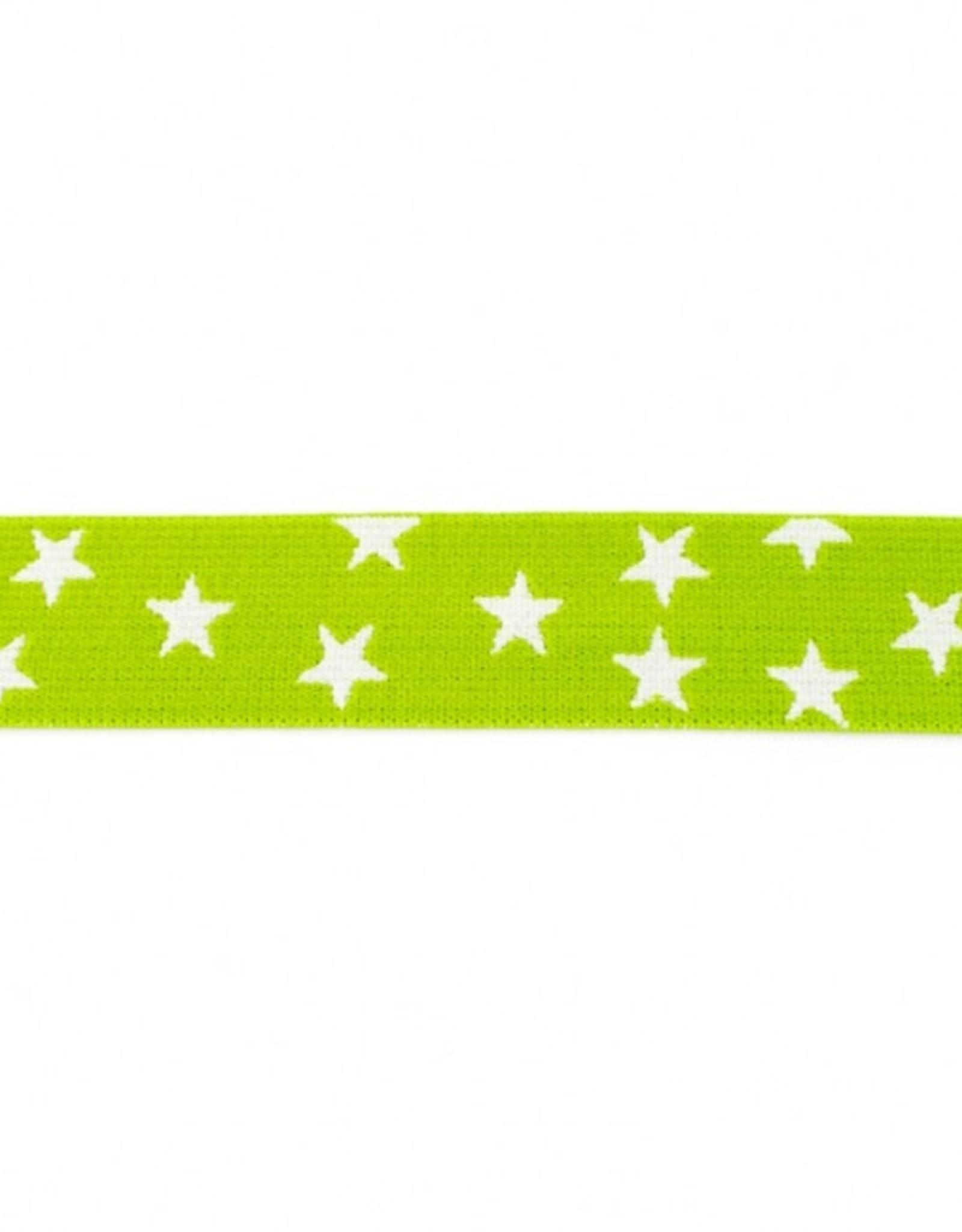 Elastiek sterren 2-kleurig dubbelzijdig lime-wit 25mm