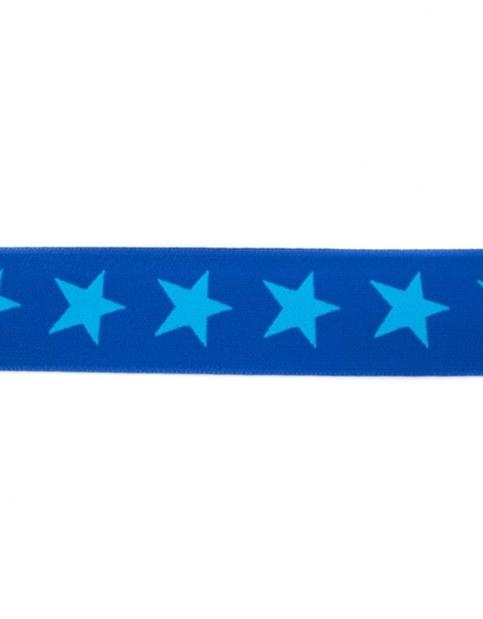 Elastiek sterren 2-kleurig dubbelzijdig kobalt-aqua 40mm