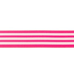 Elastiek gestreept neon flue roze-wit 40mm