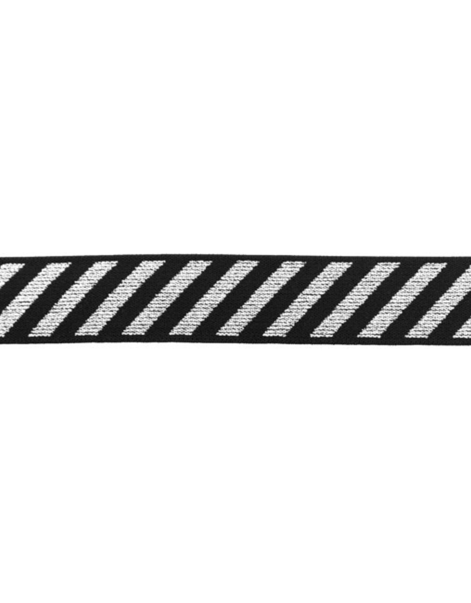 Elastiek diagonaal gestreept lurex zilver 25mm