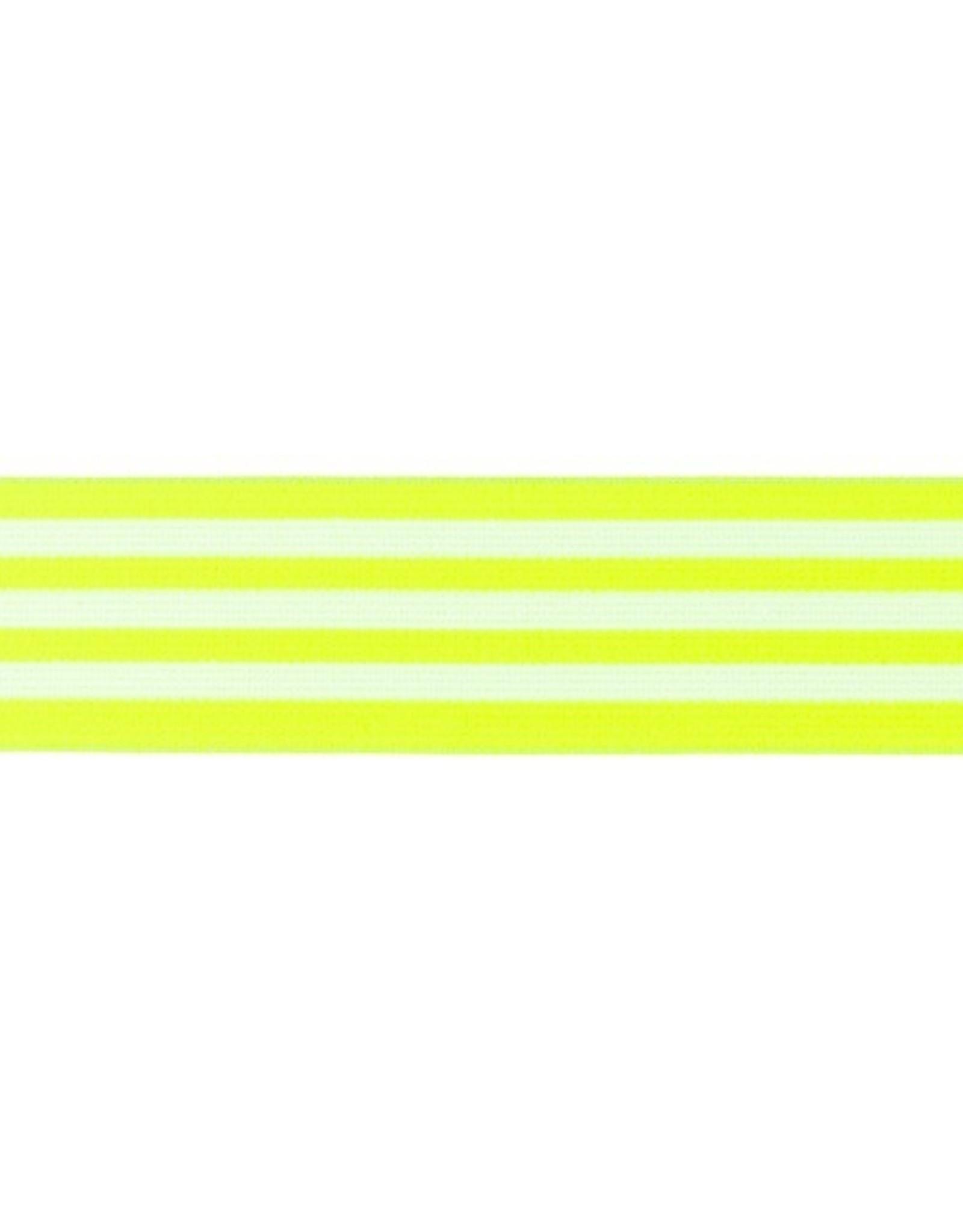 Elastiek gestreept neon fluo geel-wit 40mm
