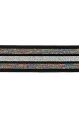 Elastiek lurex multicolor glitter regenboog-zilver 40mm