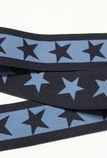 Elastiek sterren 2-kleurig dubbelzijdig marine-jeansblauw 40mm