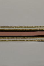 Elastiek gestreept lurex gouden lijnen - oudroze - bruin40mm