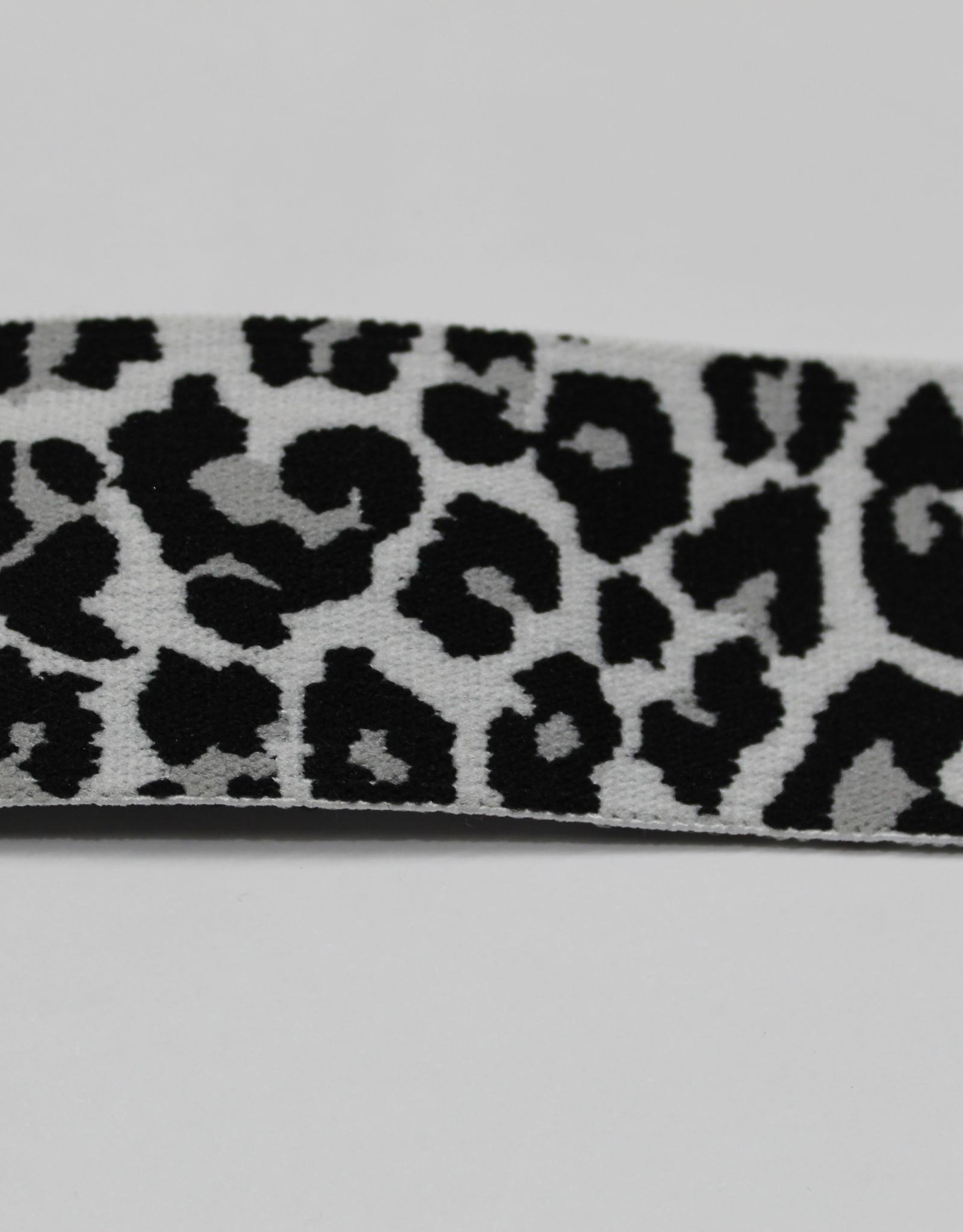 Elastiek leopard print zwart-wit 40mm