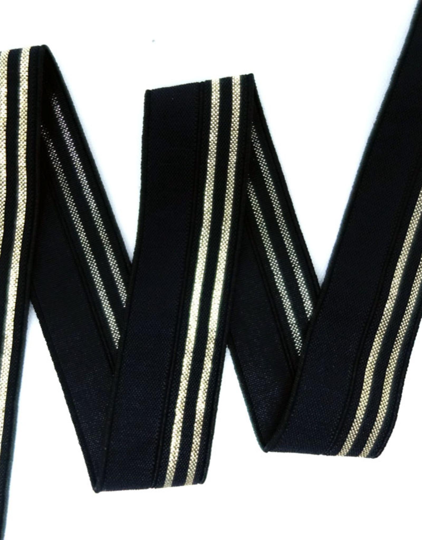 Elastisch biaislint 16mm zwart met 2 zilveren lijnen