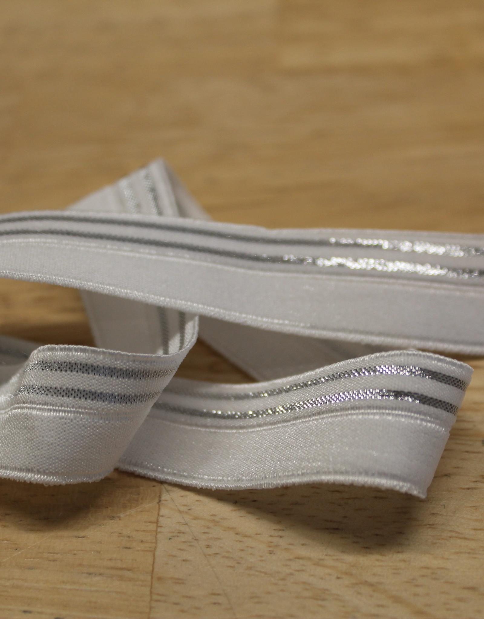 Elastisch biaislint 16mm wit met 2 zilveren lijnen