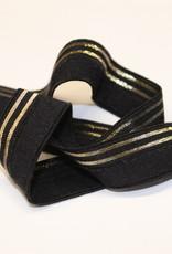 Elastisch biaislint 16mm zwart met 2 gouden lijnen
