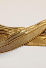 Elastisch biaislint 16mm oker met 2 gouden lijnen