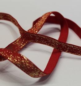 Elastisch lint 10mm rood met gouden glitters
