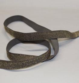 Elastisch lint 10mm grijs met gouden glitters