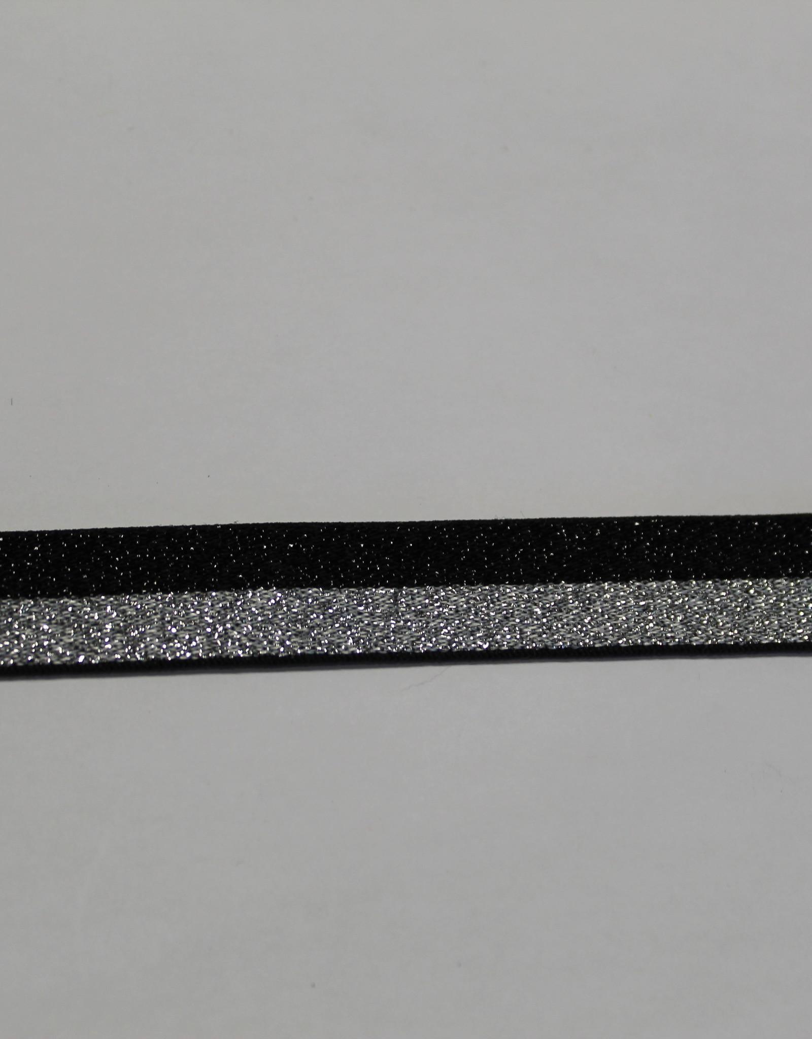 Elastisch lint 15mm zwart/zilver