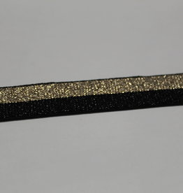 Elastisch lint 15mm zwart/goud