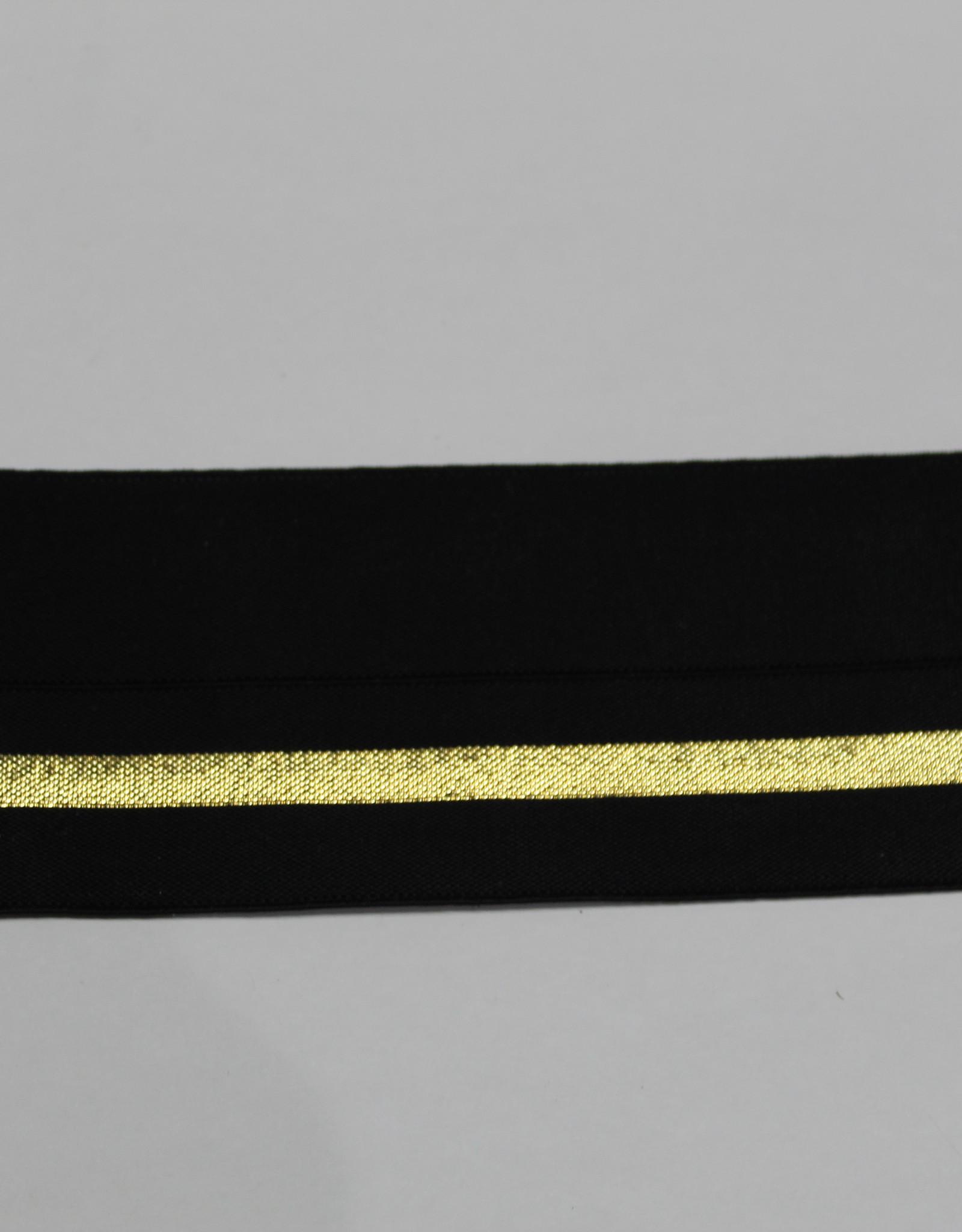 Elastisch biaislint zwart met goud lijn 38mm