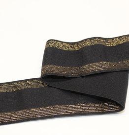Elastiek zwart met gouden lijntjes 35mm