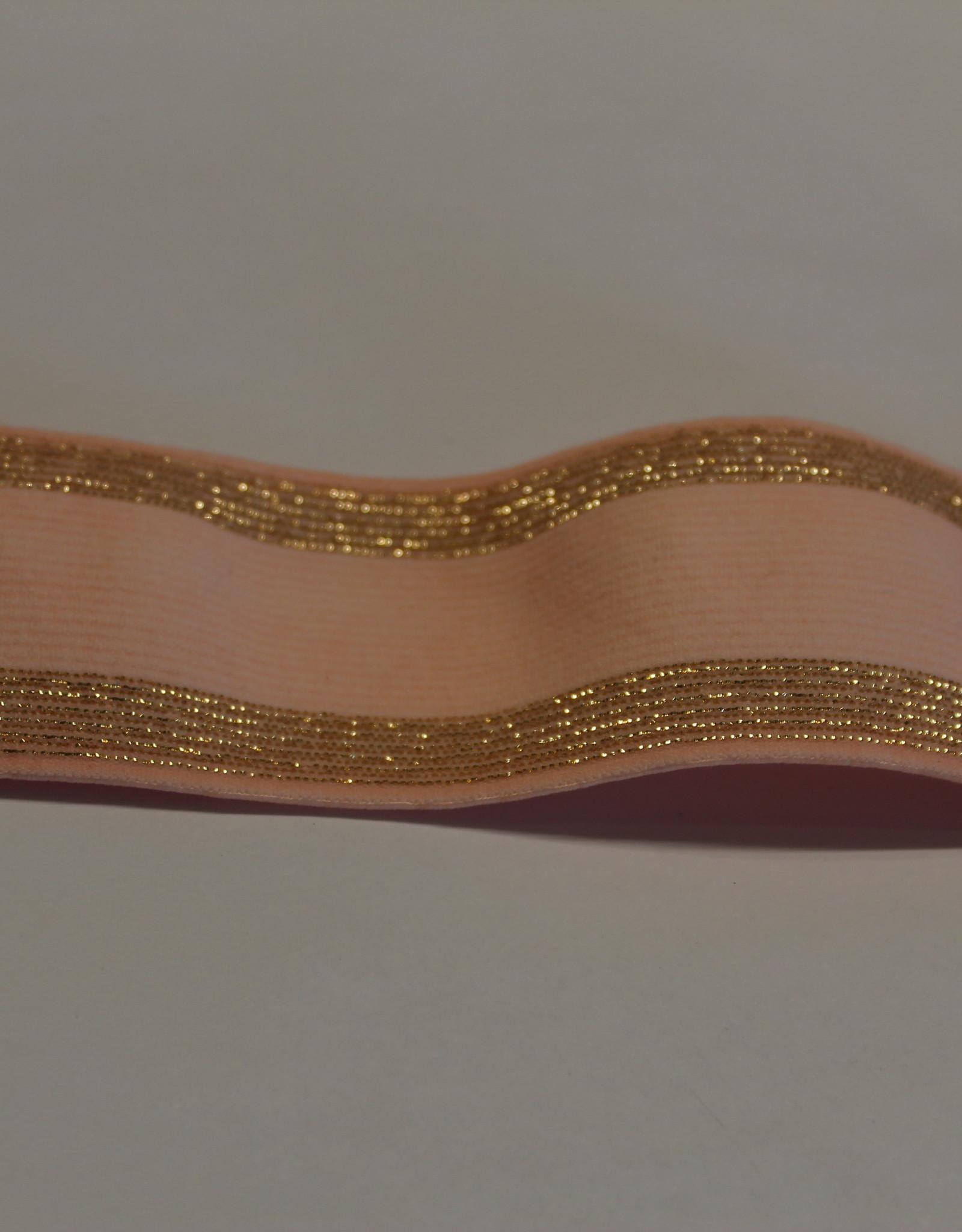 Elastiek roze met gouden lijntjes 35mm