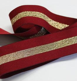 Elastiek bordeau met gouden middenlijn 35mm